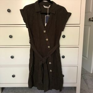 Zara Asymmetrical Buttons Belted Shirt Dress Olive